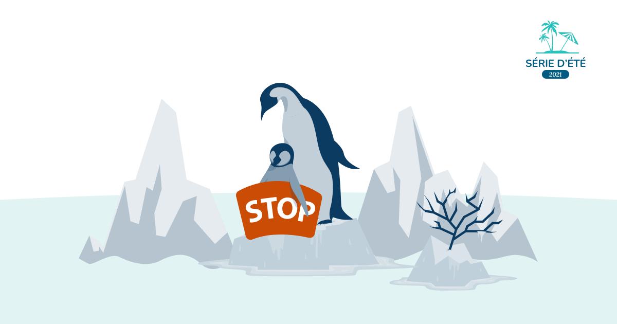 Illustration pingouins contre le réchauffement climatique