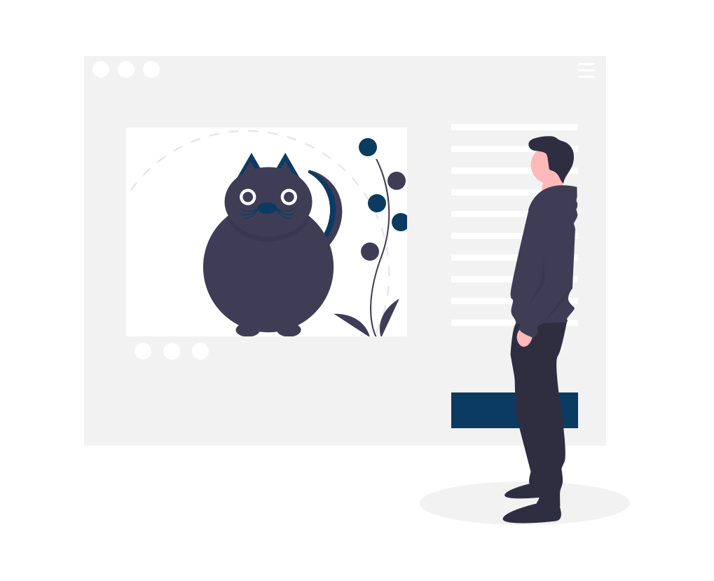 Illustration chat sur un site internet