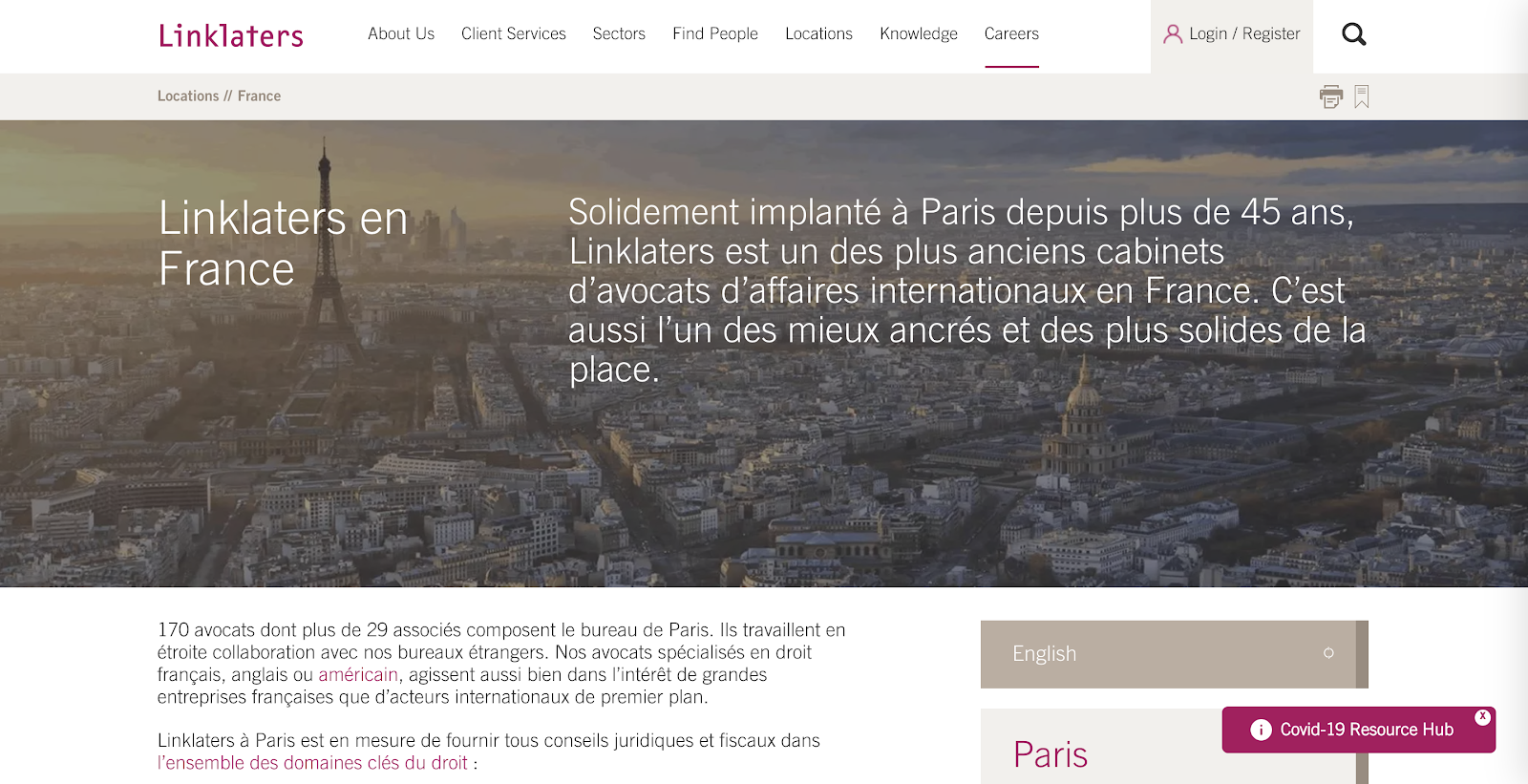 site du cabinet Linklaters