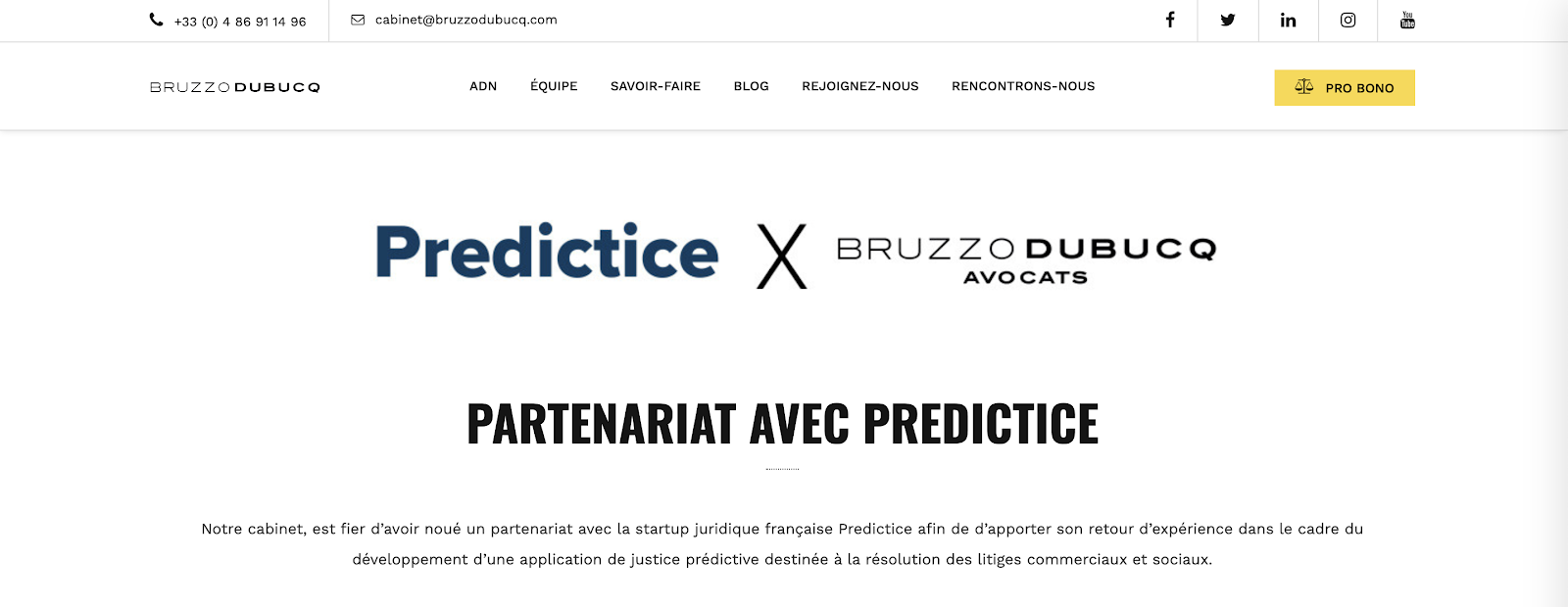 site internet du cabinet d'avocats Bruzzo Dubucq