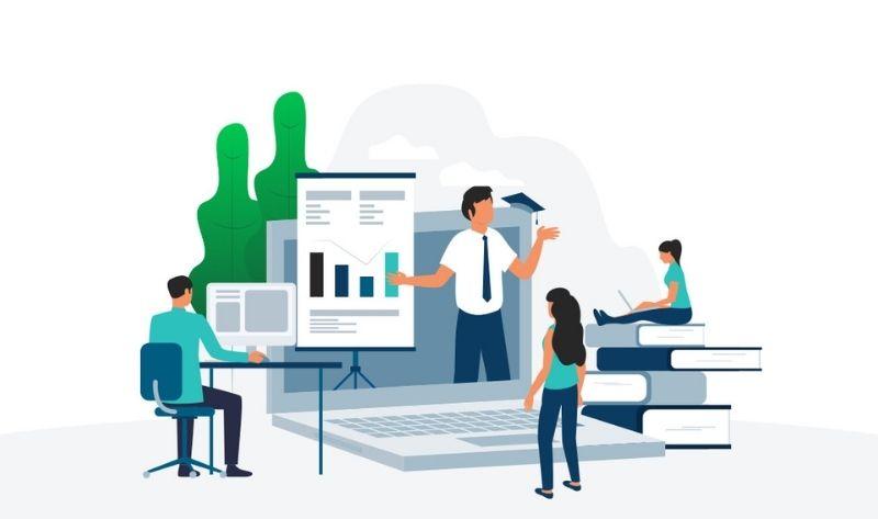 illustration enseignement en ligne