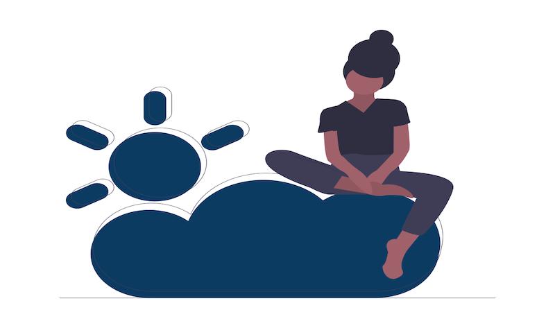 Illustration montrant une personne assise sur un nuage
